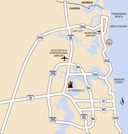 Area Map of Jacksonville Airport to Amelia Island